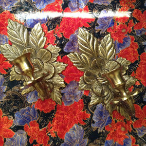 Vintage Solid BRASS DOGWOOD Sconces -CANDLE HOLDER
